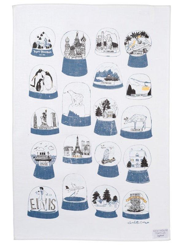 Charlotte Farmer Shake It snow globe tea towel