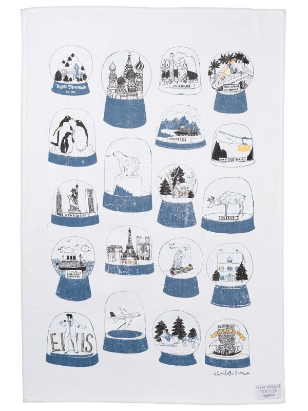 Charlotte Farmer Shake It snow globe tea towel