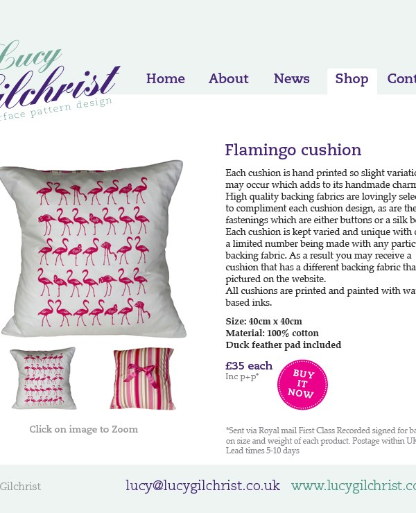 Pink flamingo cushion by Lucy Gilchrist