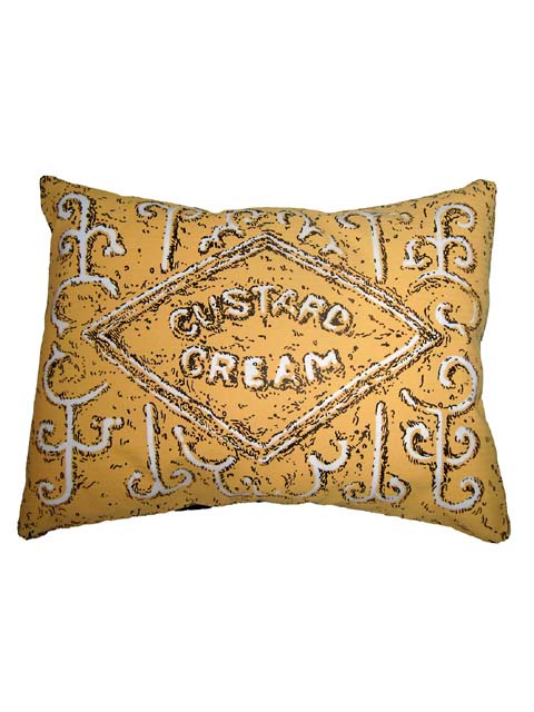 Simon Lewis Custard Cream biscuit cushion