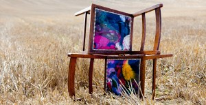 Funky recycled welly boot chairs