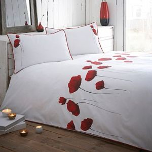 Red and white poppy bedding