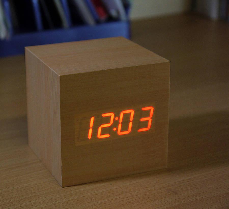 Sleek And Natural Beech Wood Led Alarm Clock Fresh