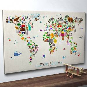 Animal design world map wall art