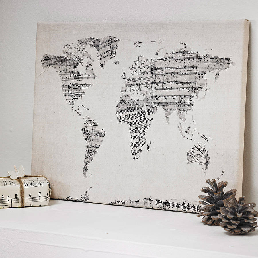 Fancy World map art print for music lovers
