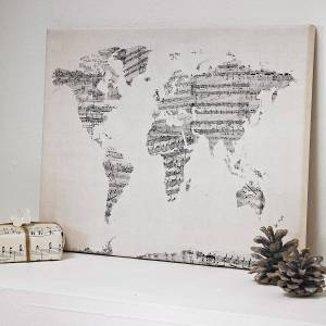 World map art print for music lovers