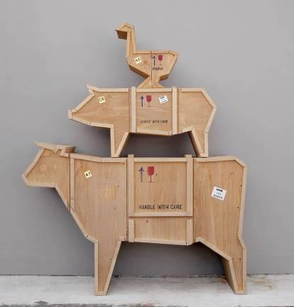 Cow design storage cabinet sideboard