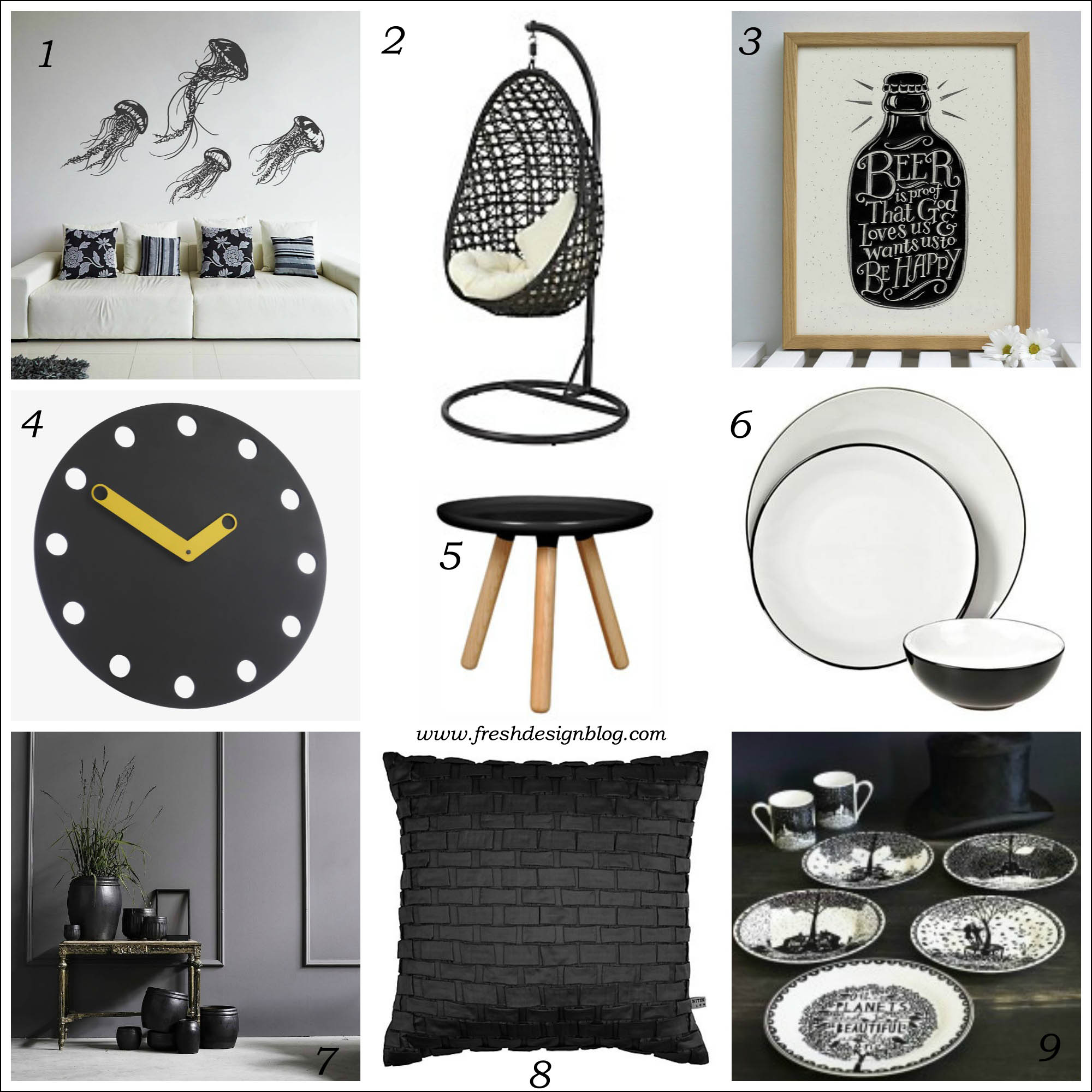 Black and white delight monochrome home accessories for Fresh design blog