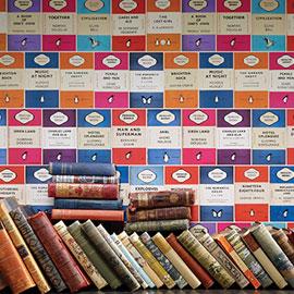 Contemporary book shelf design wallpaper