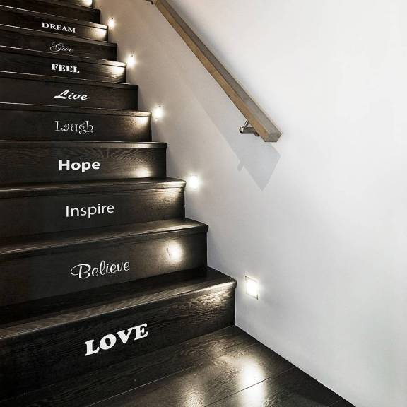 Add inspiration words to your staircase