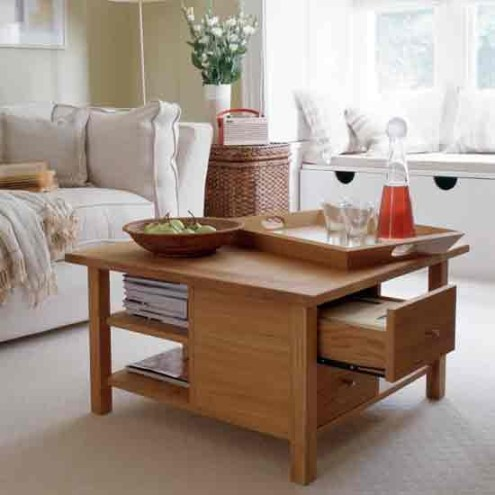 Hide your clutter in a coffee table with drawers
