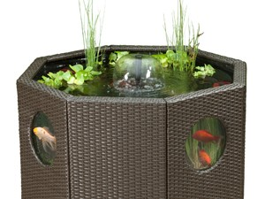 Solar powered garden water feature octagon shape