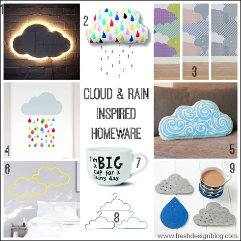 Cloud and rain inspired homeware