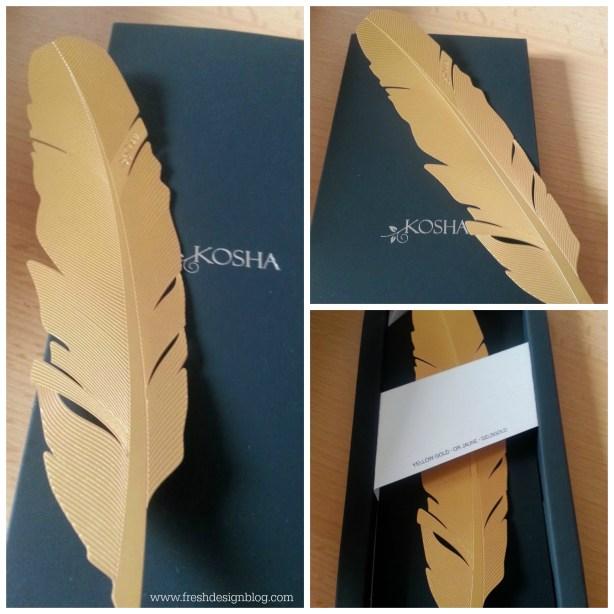 Kosha yellow gold feather bookmark
