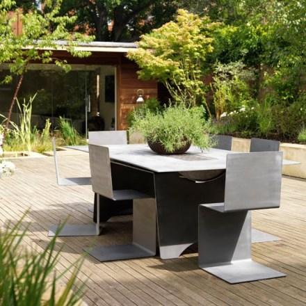 Contemporary decked garden patio