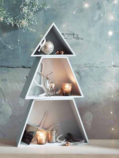Frosted grey stackable Christmas tree shelves