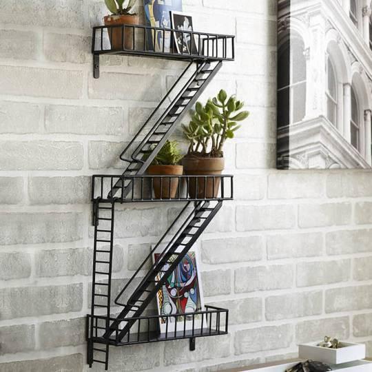 Funky fire escape design wall shelf unit