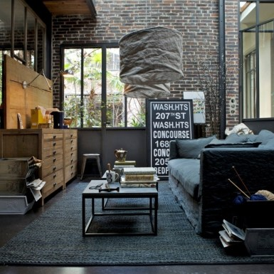 Modern industrial style living room