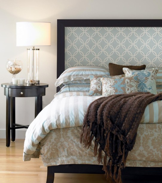 Fab way to create your own custom headboard, using wallpaper