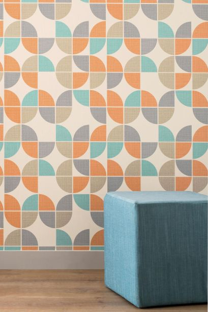 Gorgeous retro geo geometric design wallpaper from Next. It's affordable too, so won't cost the earth to use.