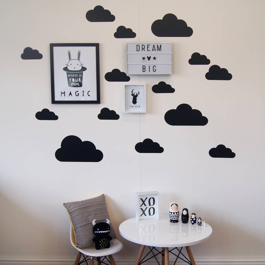 Good Black cloud design wall decal stickers perfect for a contemporary monochrome decor scheme