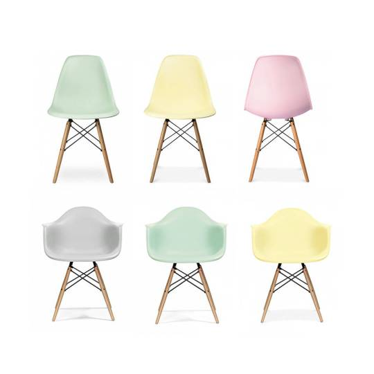 Love the pastel colours of these Eames style dining chairs. Perfect for a kitchen or dining room update