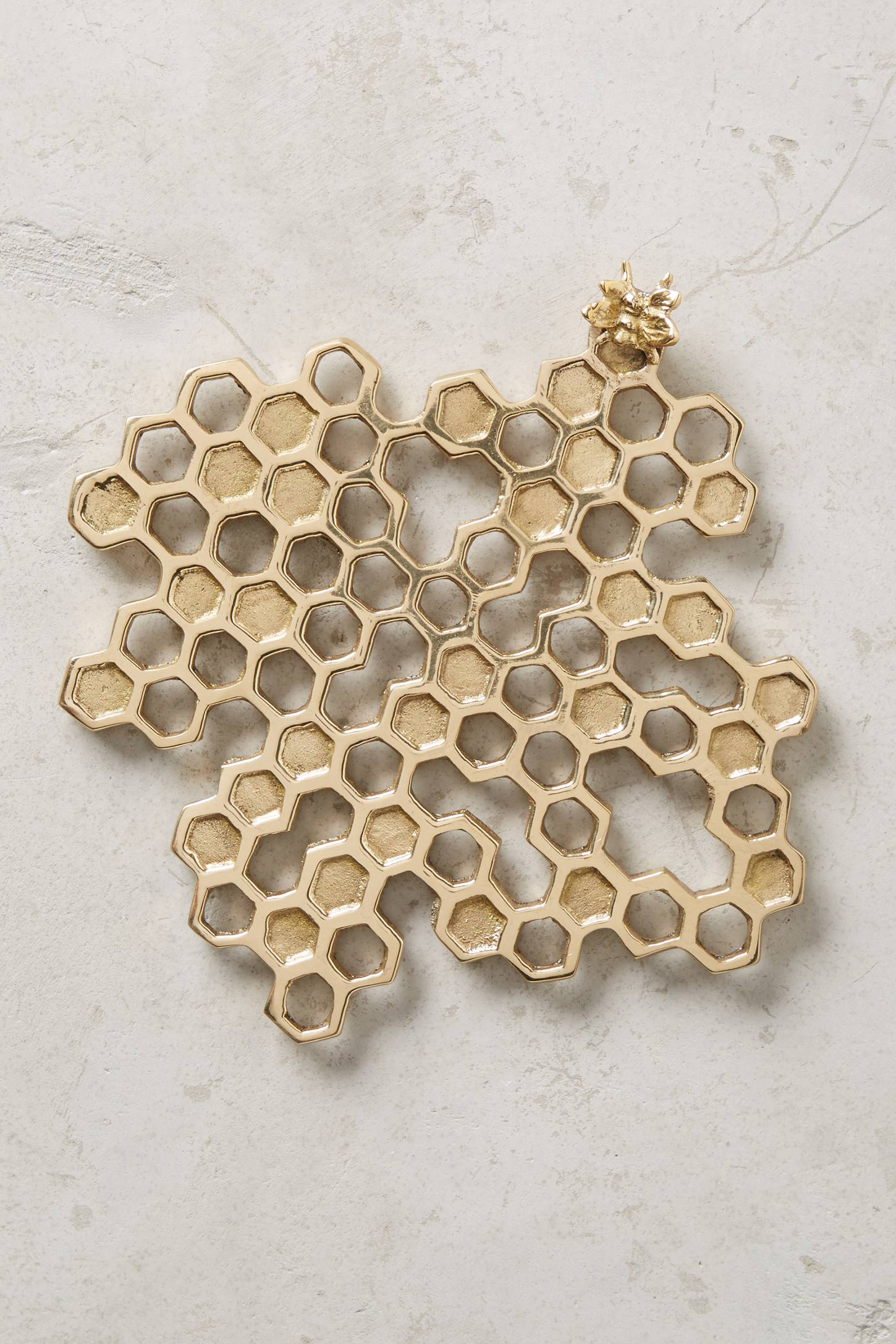 Gorgeous Brass Honey Bee And Honeycomb Kitchen Trivet Looks Too