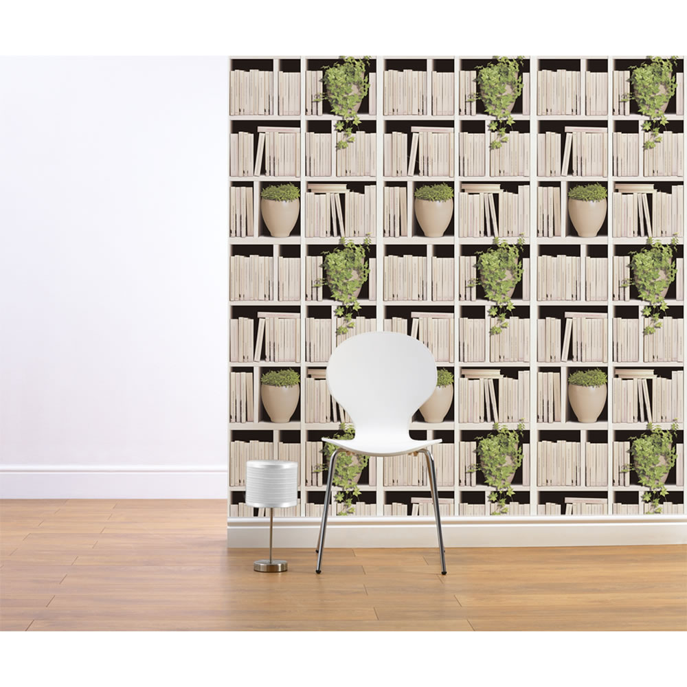 Wall stickers wilko - Create The Effect Of A Library At Home With This Clever Stacked Bookshelves Wallpaper
