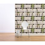 Create the effect of a library at home, with this clever stacked bookshelves wallpaper