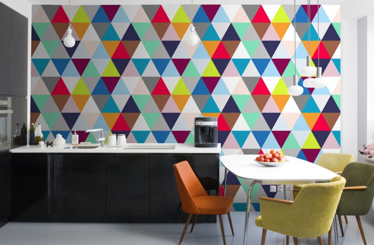 Nice Add a lively modern geometric style to a room with this multicoloured triangles mural