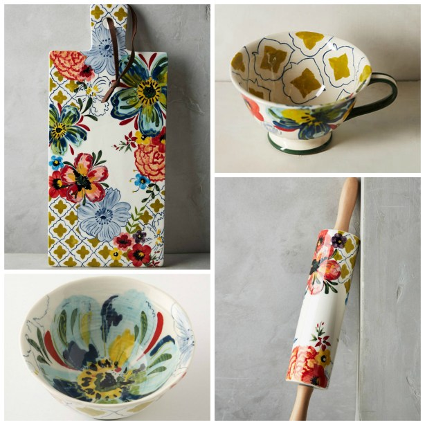 Sissinghurst Castle floral stoneware range from Anthropologie