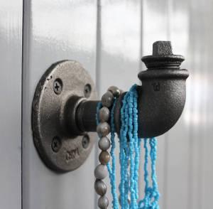 Unusual handmade industrial style coat hook or jewellery hanger
