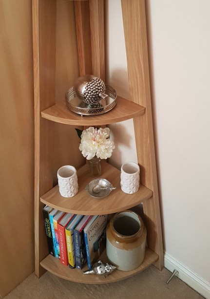 The shelves on the Quinn corner bookcase are of a good depth and provide plenty of storage options.