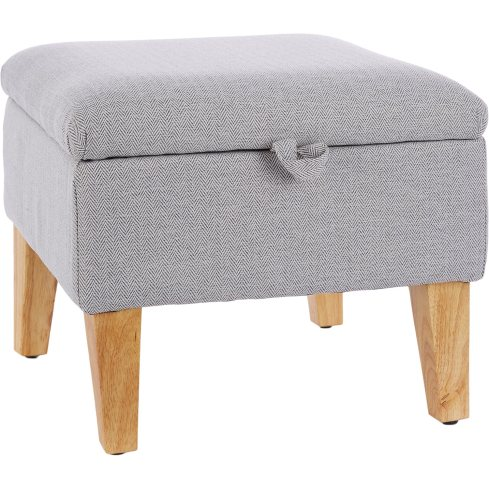 Black and white herringbone fabric stool with hidden storage
