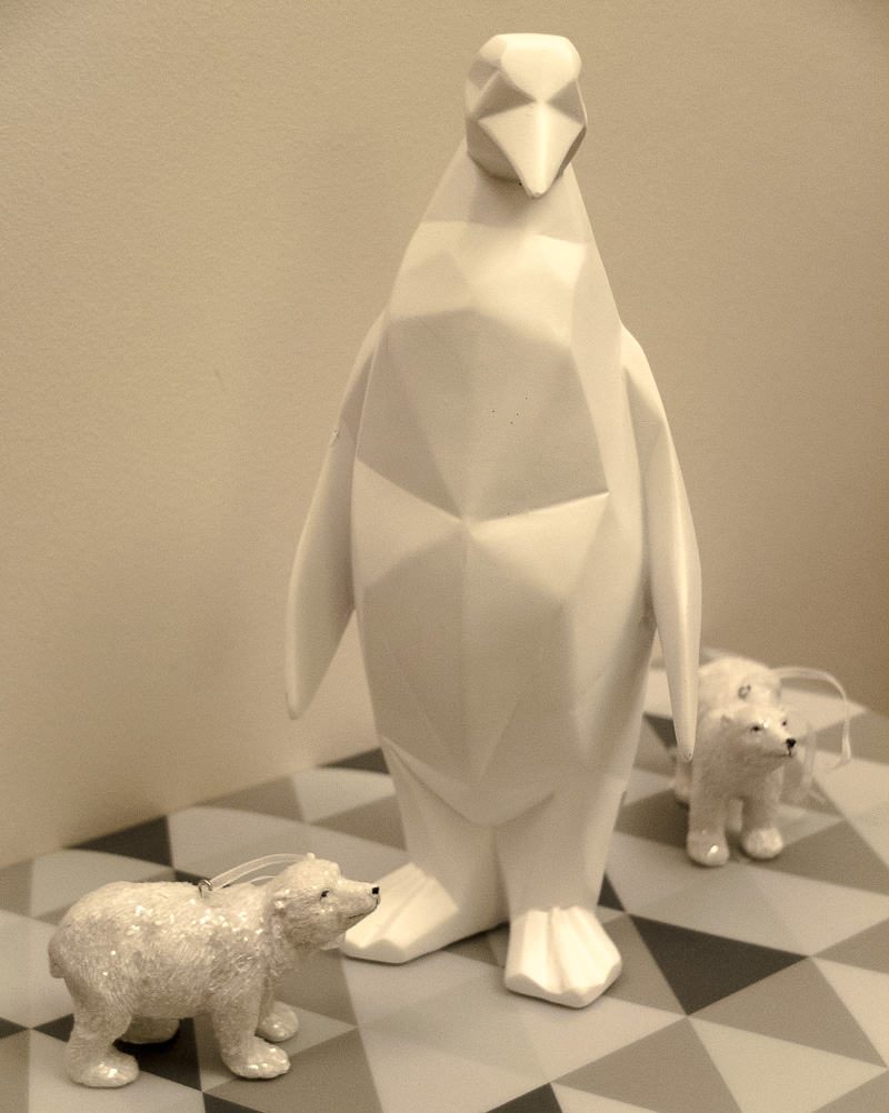 Gorgeous white geometric penguin