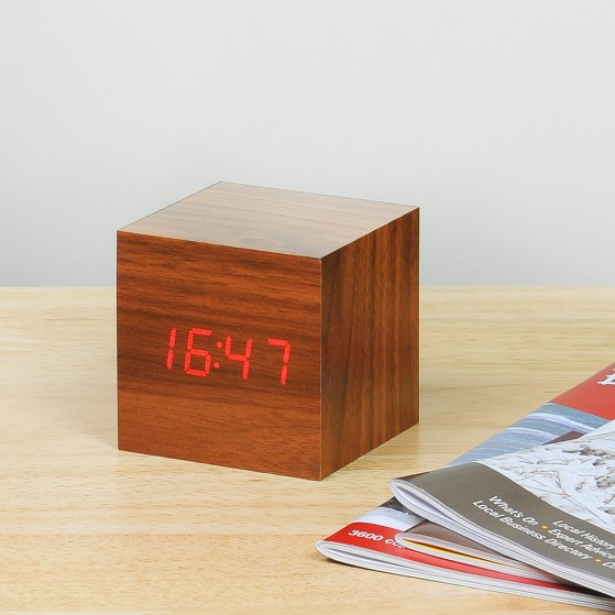 Stylish and functional cube teak light and clock