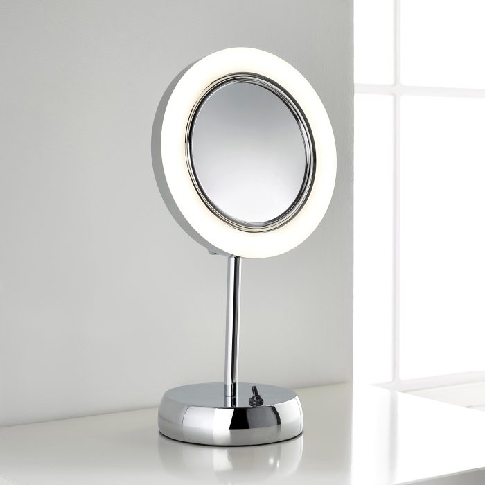 Multi-purpose LED magnifying mirror suitable for use on a dressing table or in a bathroom