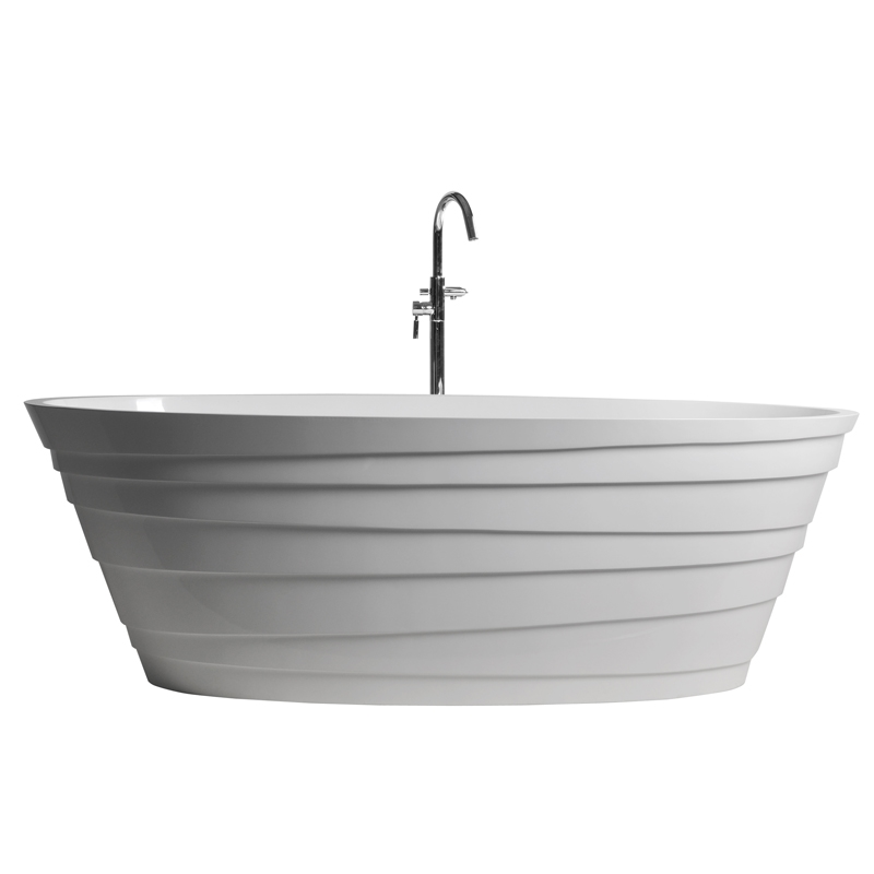 Love the exterior pattern design of this contemporary double ended bath.