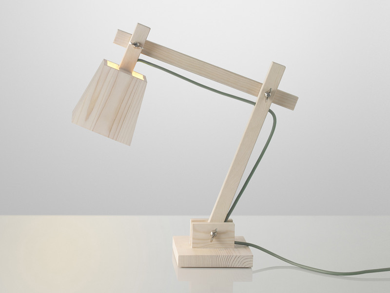 Contemporary desk lamp made from natural pine wood - this would look distinctive on a desk