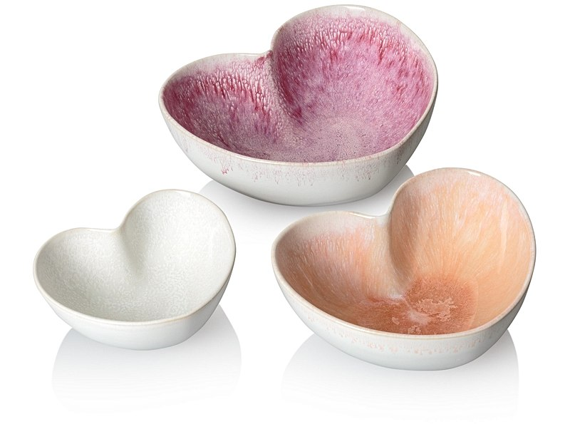 Set of juicy pink heart shaped bowls - help raise money for The Eve Appeal