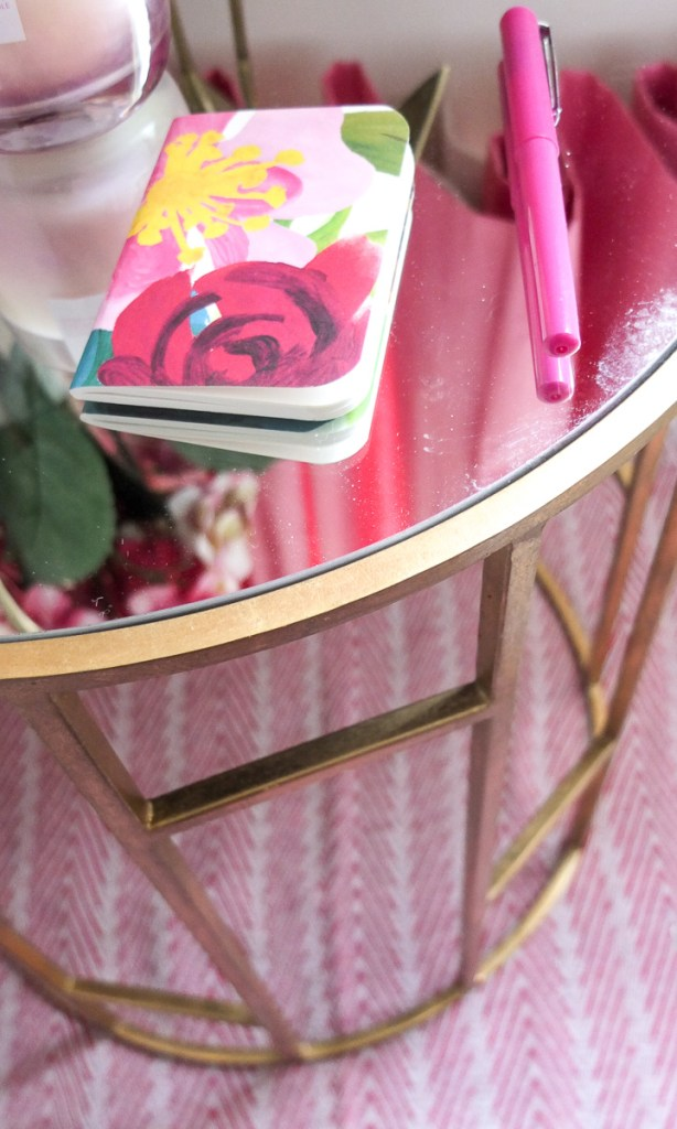 Love the detail on the base of this gold geometric side table
