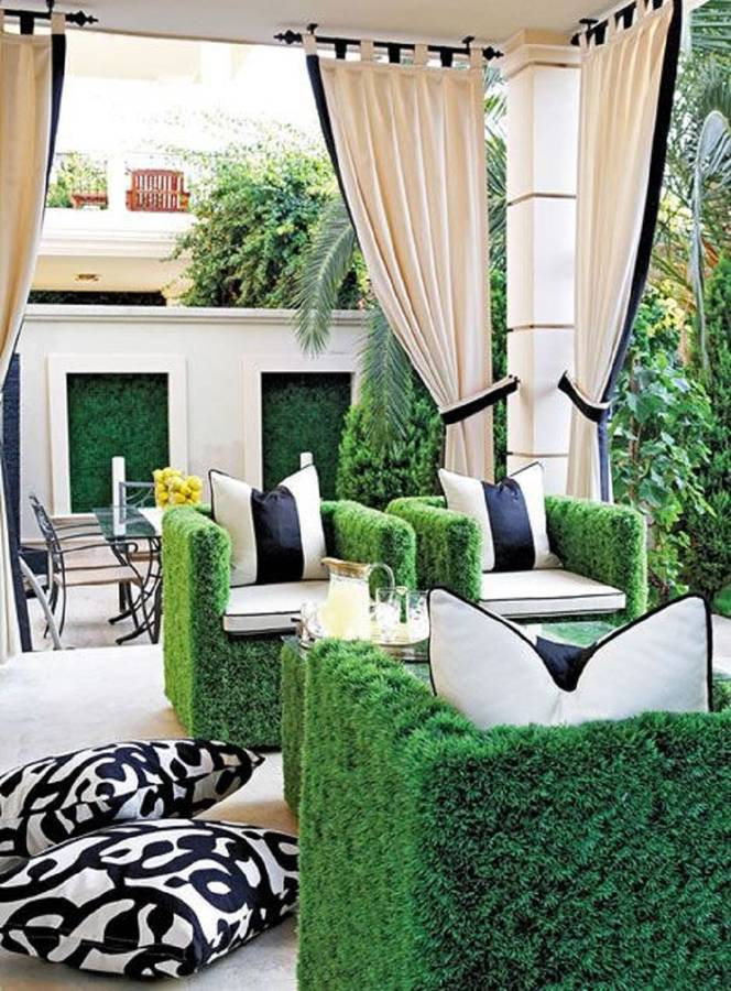 Stunning contemporary and quirky garden furniture made from artificial grass. So realistic and comfortable - it's bound to be a talking point!