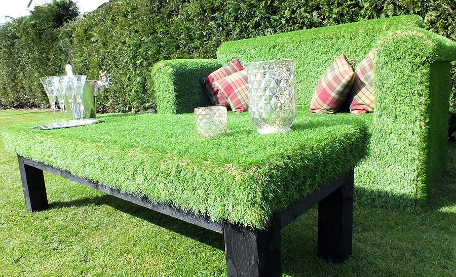 Super quirky and unusual outdoor garden sofa made from artificial grass!