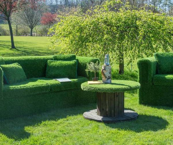 Quirky garden furniture made from artificial grass turf