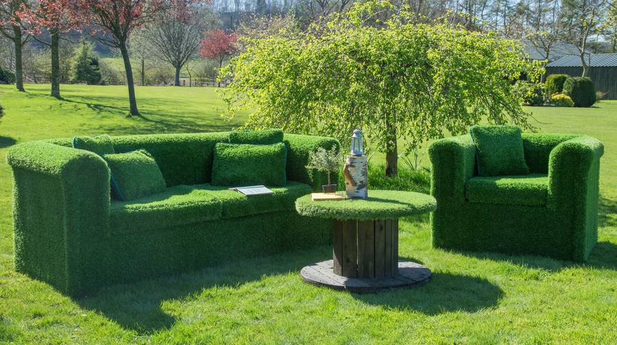 Funky furniture made from grass - blend into your garden environment!