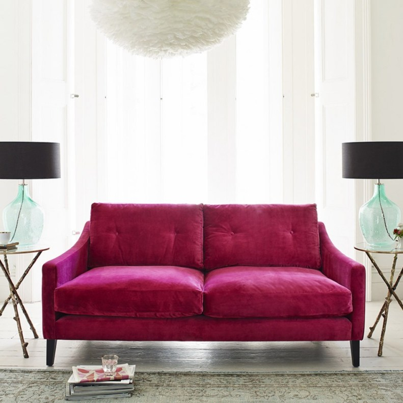 Luxurious deep dream velvet sofa from Graham and Green. On trend and super stylish.