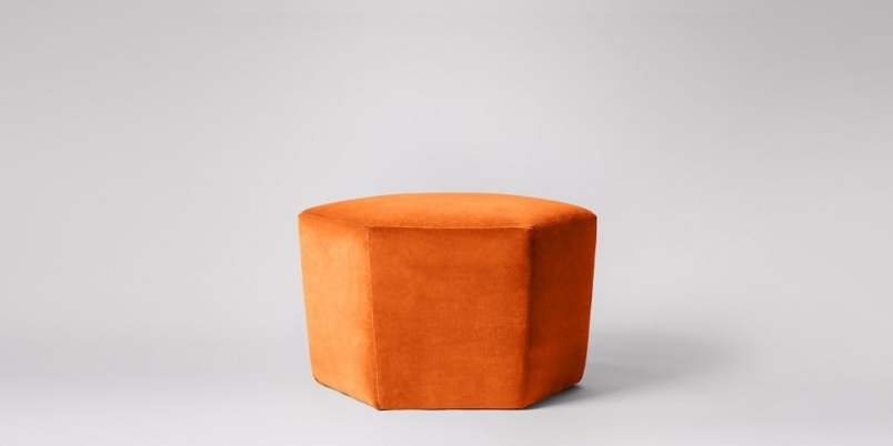 Fun and zingy Hagen hexagonal footstool ottoman in a lovely velvet upholstery