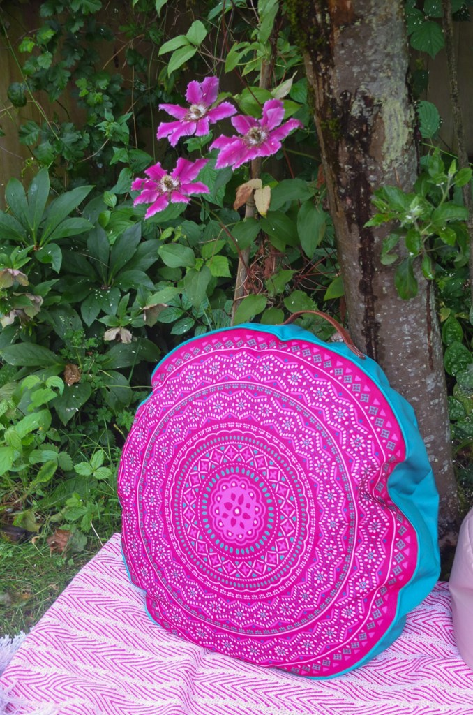Love this big round boho style outdoor cushion - can't believe the price!