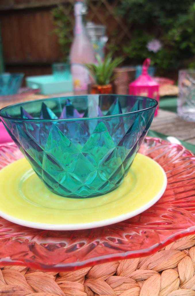 Green Koziol designer alfresco dining bowls