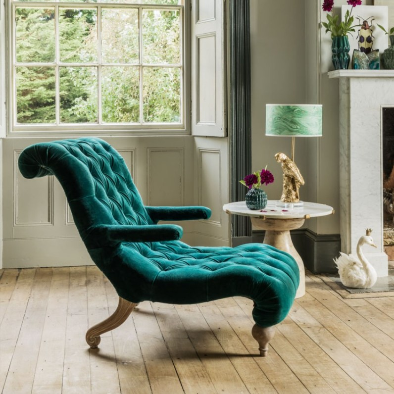 Doesn't this look like the comfiest chair to relax in? The velvet upholstery is gorgeously luxurious and soft to touch